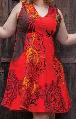 Robe courte Rouge d'été sans manches XXXL Originale et Colorée Calissa 284329