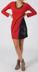Robe courte rouge d\'hiver à manches longues Aurélie