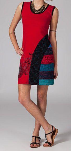 Robe courte rouge en coton Wallys 269001