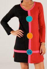 Robe courte Rouge et Noire d'hiver Ethnique et Colorée Salina 279724