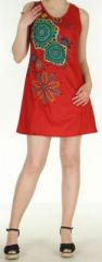 Robe courte rouge imprimée à col rond Venezuela 271048