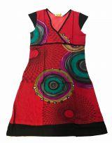 Robe courte rouge imprimée ethnique à col en V Chumy 300134