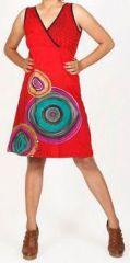 Robe courte rouge imprimée ethnique col en V Roumble 271630