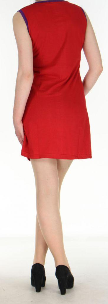 Robe courte rouge originale et ethnique en coton Massilia 270708