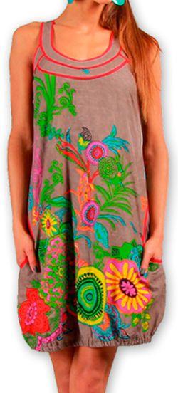 Robe courte sans manches Colorée et Ethnique Eollia Grise 277051