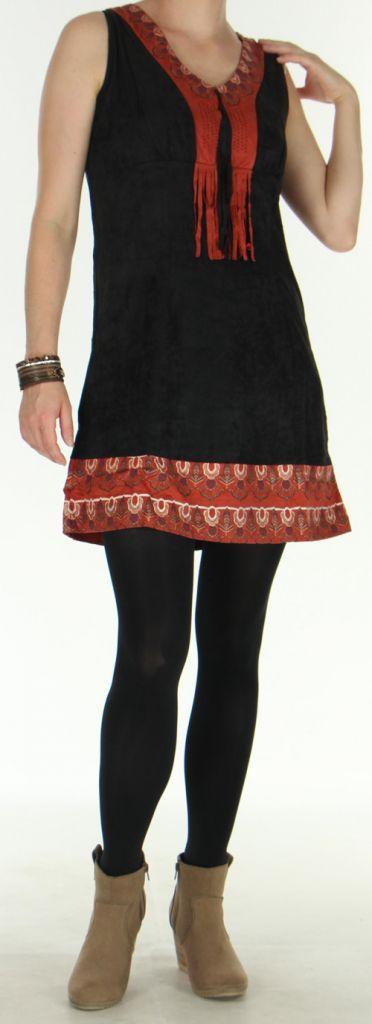 Robe courte sans manches Ethnique et Amérindienne Natéla Noire 275917