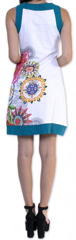 Robe courte sans manches Ethnique et Chic Amallia Blanche 276626