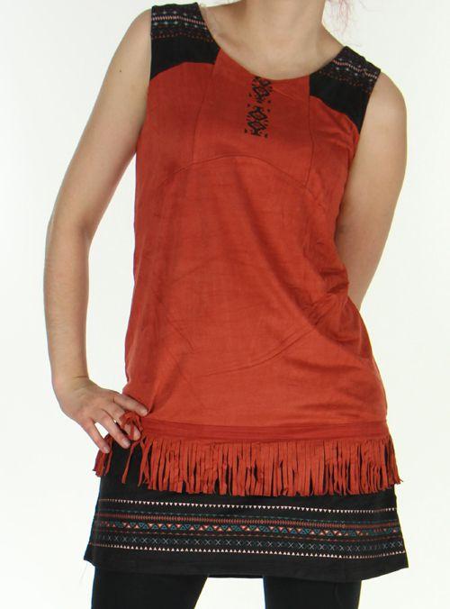 Robe courte sans manches Ethnique et Très originale Shayana Rouille 276213