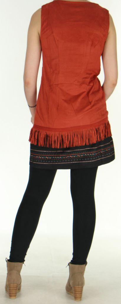 Robe courte sans manches Ethnique et Très originale Shayana Rouille 276215