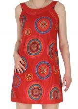 Robe courte sans manches Indienne à Mandalas Latika Rouge 285077