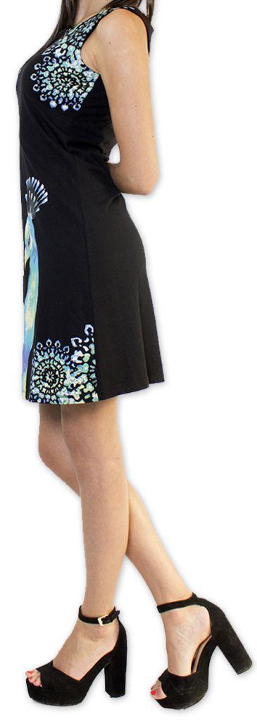 Robe courte sans manches Noire Originale et Imprimée Amenda 276641