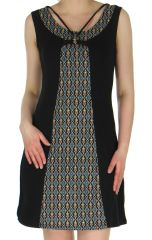 Robe courte sans manches Originale à motifs Aztèques Kalima Noire 283255
