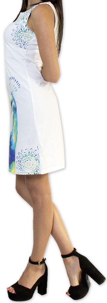 Robe courte sans manches Originale et Imprimée Amenda Blanche 276637