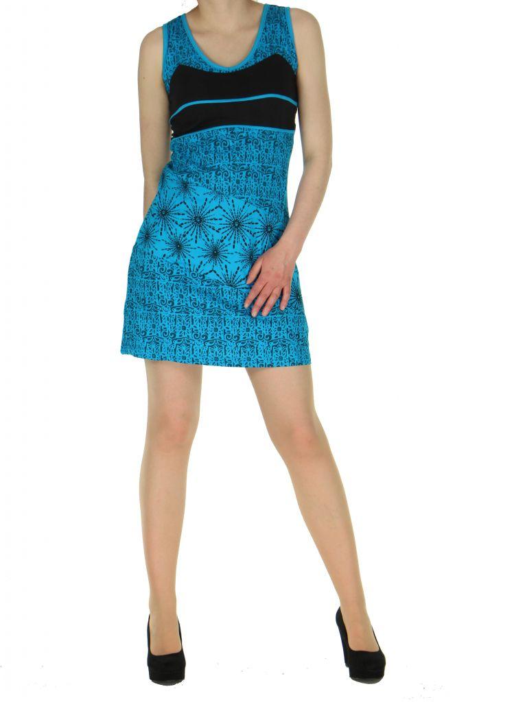 Robe courte sans manches originale sophie bleue 261331