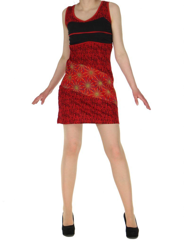 Robe courte sans manches originale sophie rouge 261333
