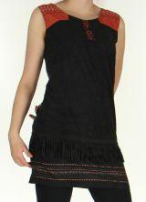 Robe courte sans manches Très Originale et Ethnique Shayana Noire 276210