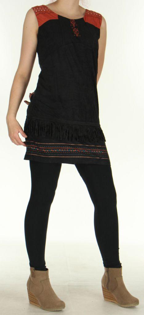 Robe courte sans manches Très Originale et Ethnique Shayana Noire 276211