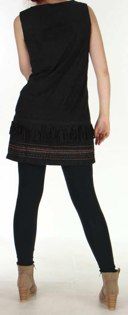Robe courte sans manches Très Originale et Ethnique Shayana Noire 276212