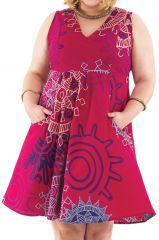 Robe courte sans manches XXXL Originale et Colorée Calissa Rose 284323