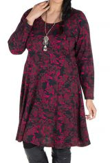Robe courte size + all over print floral et coupe Flare Coline 302204