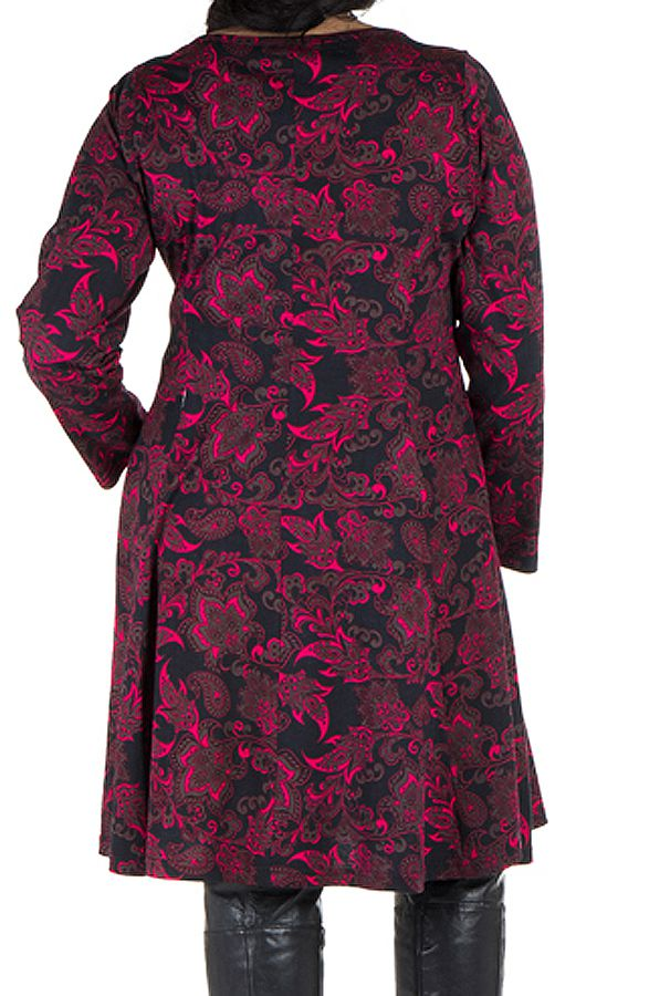 Robe courte size + all over print floral et coupe Flare Coline 302206