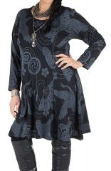 Robe courte size + imprimés asiatiques floral et coupe évasée Colibri 302214