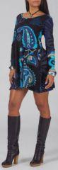 Robe courte style Patineuse Originale et Colorée Layana Bleue 274955
