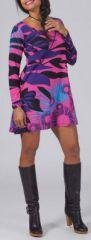 Robe courte style Patineuse Originale et Colorée Layana Rose 274953