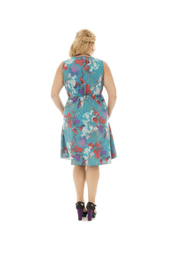 Robe courte style romantique avec son imprimé floral Jersey