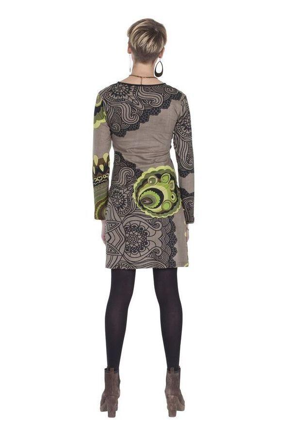 Robe courte Taupe à manches longues Ethnique Bellagia 285415