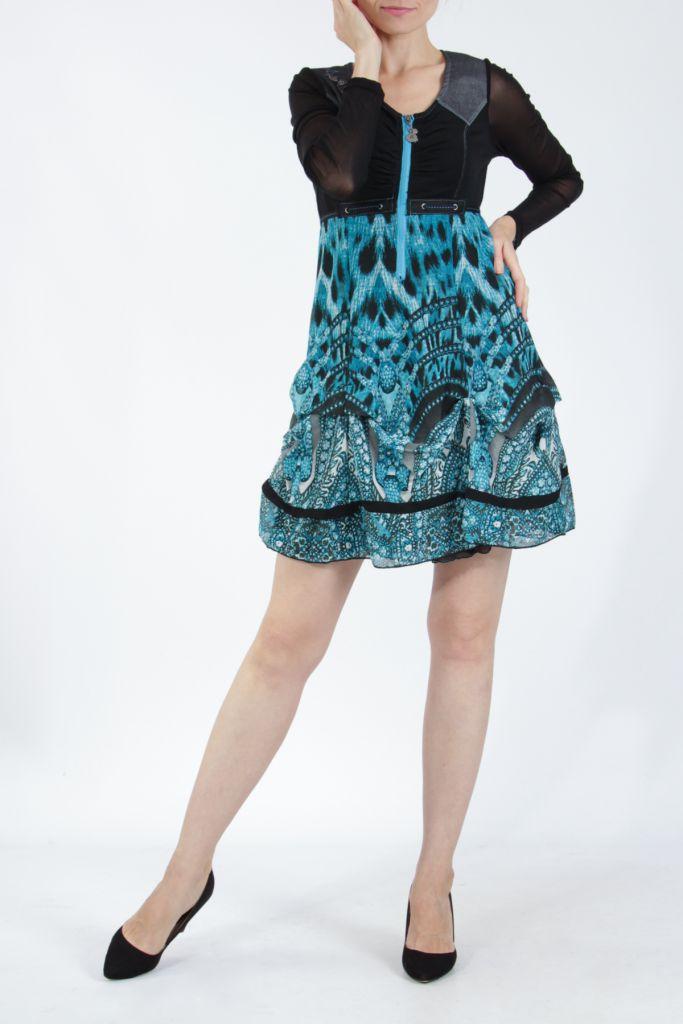 Robe courte tendance chic avec un imprimé bleu Louna 305192