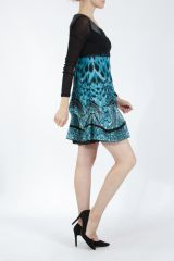 Robe courte tendance chic avec un imprimé bleu Louna 305193