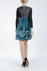 Robe courte tendance chic avec un imprimé bleu Louna 305194