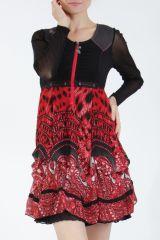 Robe courte tendance chic avec un imprimé rouge Louna 305185