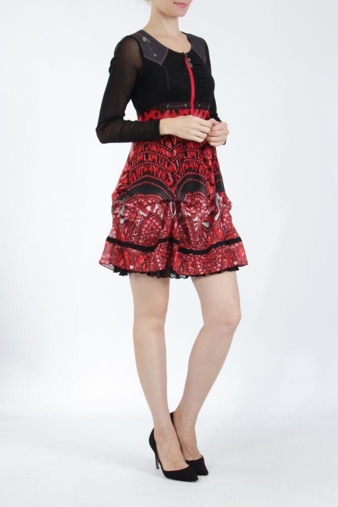 Robe courte tendance chic avec un imprimé rouge Louna 305187
