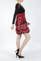 Robe courte tendance chic avec un imprimé rouge Louna 305188