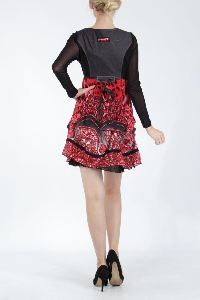 Robe courte tendance chic avec un imprimé rouge Louna 305189