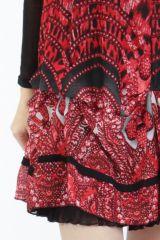 Robe courte tendance chic avec un imprimé rouge Louna 305190