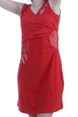 Robe courte tendance ethnique avec imprimés indiens rouge Nolly 296631