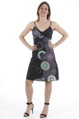 Robe courte très féminine imprimée ethnique Louane 311328