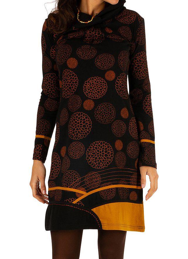 Robe courte très originale et fun Minna noire et jaune 313419