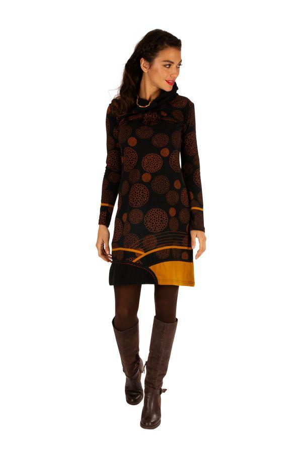 Robe courte très originale et fun Minna noire et jaune 313420