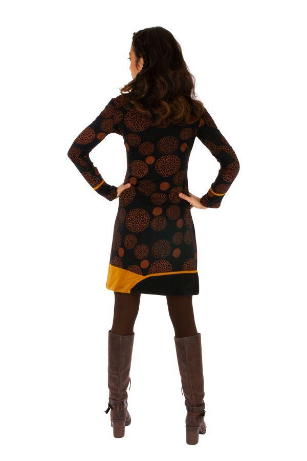 Robe courte très originale et fun Minna noire et jaune 313421