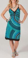 Robe courte turquoise ethnique col V à fines bretelles Muryna