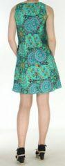 Robe courte turquoise imprimée de fleurs en viscose Lalou 270485