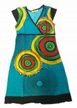 Robe courte turquoise imprimée ethnique à col en V Chumy 300136
