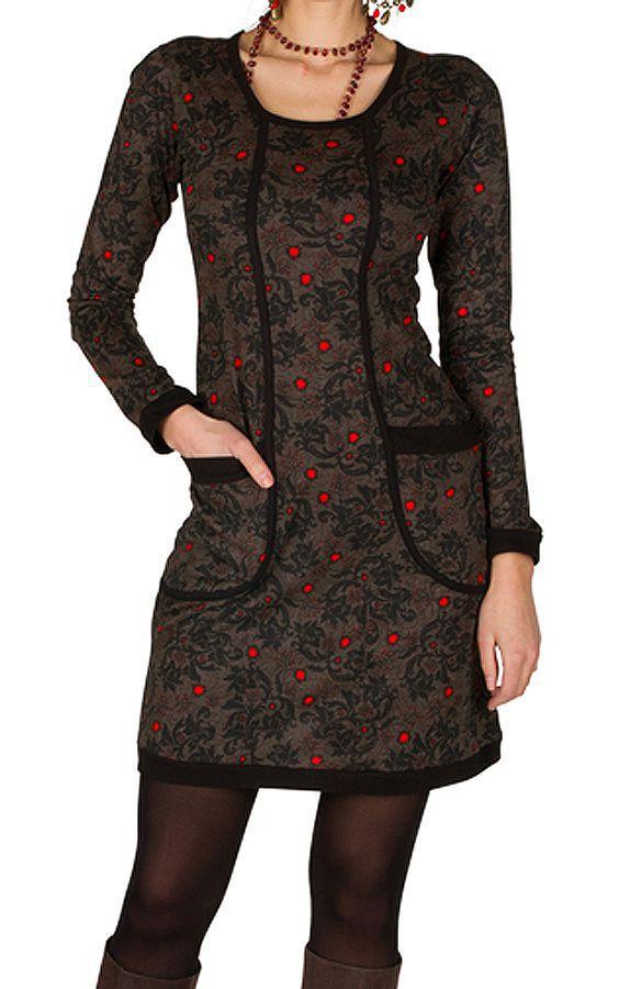 Robe courte ultra tendance avec imprimés et col rond Chocolat Olympe 301781