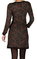 Robe courte ultra tendance avec imprimés et col rond Chocolat Olympe 301785