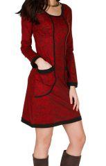 Robe courte ultra tendance avec imprimés et col rond Rouge Olympe 301752