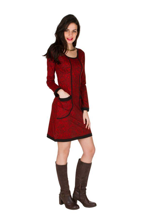 Robe courte ultra tendance avec imprimés et col rond Rouge Olympe 301753